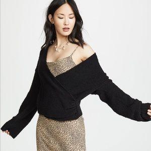 Free people knit sensual wrap sweater black xs